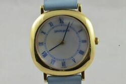 Gerald Genta Womenand039s Watch 18k 750 Solid Gold Vintage With Leather Band 34mm Mop
