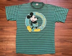 Vintage Rare 80s Green Stripe Mickey Mouse T Shirt Disney Usa Size Extra Large