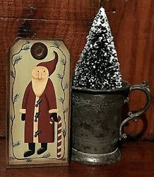 Antique Christmas Ornate Tin Cup Tree Aafa And Wood Belsnickle Santa Present Tag