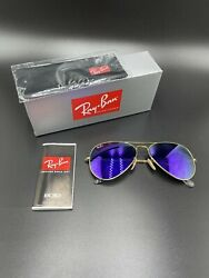 New Ray-ban Aviator Rb3025 112/68 Gold Frame Mirror 58-14 Authentic Made In Ital
