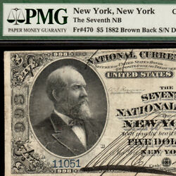 Beautiful Ch 998 New York, Ny 5 1882 Brown Back Five Dollar Wi Fr.470 11051