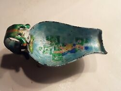 Antique Chinese Enamel Figural Dish Silver