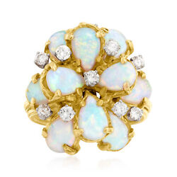 Vintage Opal And Diamond Cluster Ring In 18kt Gold Size 7