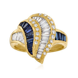 Vintage Sapphire And Diamond Swirl Ring In 18kt Gold Size 7.5