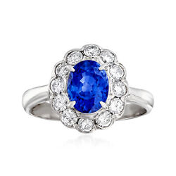 Vintage Sapphire And Diamond Ring In Platinum Size 6.75