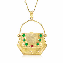 Vintage Red And Green Glass Purse Necklace In 18kt Gold 18
