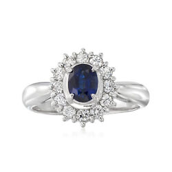 Vintage Sapphire And Diamond Halo Ring In Platinum Size 5.75