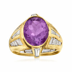 Vintage Amethyst And Diamond Ring In 18kt Gold Size 6.5