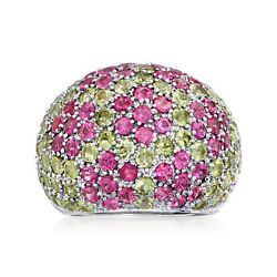 Vintage Pink Sapphire And Peridot Flower Dome Ring In 18kt White Gold Size 7