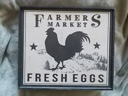 Vtg Country Decor Farmer#x27;s Market Distressed Chicken Wood Sign 12quot;x11quot; Antiqued