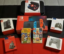 Nintendo Switch Console V 2 Lot With Mario Maker 2 And Super Mario 3d All-stars