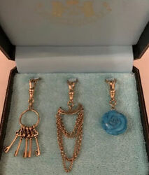 Very Rare Nwt Juicy Couture Trio Turqouise Flower Keys Fringe Rose Chain Charms