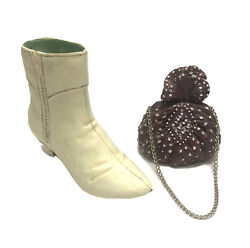 Vintage Just The Right Shoe Porcelain Boot And Handbag Lot Of 2 Piece