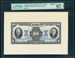 Canada Imperial Bank Toronto,on 10 Front Proof 1933 Superb Gem Unc Pmg 67 Epq