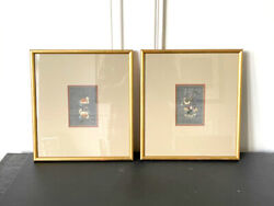 Pair Of Framed Chinese Antique Textile Fragments Qing Dynasty Provenance
