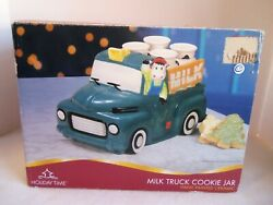 Ceramic Holiday Time Antique Milk Truck Cow Cookie Jar New In Box Large