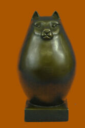 Botero Tribute Fat Cat Abstract Moder Animal Figurines Gifts Collectibles Bronze