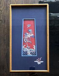 Framed Antique Embroidery Chinese Textile Qing Dynasty Provenance