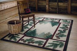 Pine Forest Maize Wilderness Lodge Country Cabin Area Rug 5x8