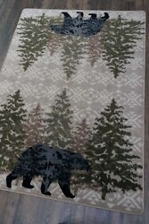 High Point Bear Stone Wilderness Lodge Country Cabin Area Rug 4x5