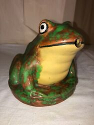 Weller Pottery Coppertone Pond/fountain Frog Figure-6andrdquo Size-late 1920andrsquos-art Deco
