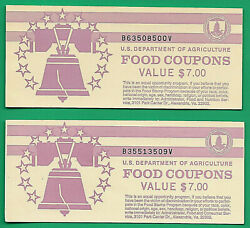 Food Stamp Coupons Usda Unc Two 1998 7.00 Full Books Welfare Scrip Token