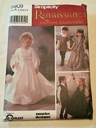 Simplicity Sewing Pattern 5909 Childs Renaissance Wedding Costumes Size 3-8 A