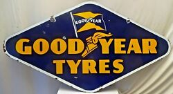 Good Year Tire Annonce Vintage Porcelaine Andeacutemail Rare Hexagone Recto-verso