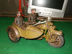 Vintage Cast Iron Hubley Toy Motorcycle With Side Car Policeman Riders
