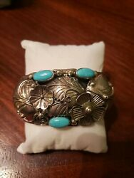 Estate Vintage Sterling Silver/turquoise Cuff Cii Mexico Wide Flower Cuff