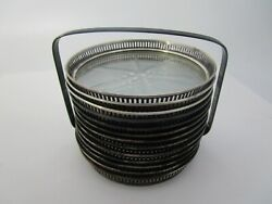 Antique Wallace Sterling Silver And Cut Glass Coaster Set Of 12