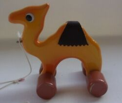 Vintage Wooden Pull Toys Camel Used