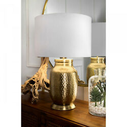 Nuloom 23 Madison Hammered Iron Cotton Shade Brass Table Lamp