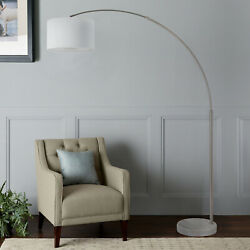 Q-max Steel Adjustable Arching 81 Floor Lamp With White Extra Large Shade