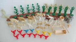 60s Marx Farm Playset Lot Of 88 Animals Figures Crops Tin Implements Accessories
