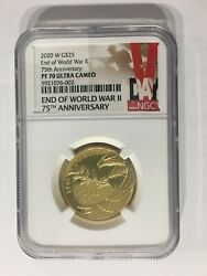 End Of World War Ii 75th Anniversary 1/2 Oz Gold Coin Ngc Pf70 Ultra Cameo
