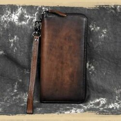 Leather Long Wallet Man Card Holder Zip Around Genuine Leather Clutch Wallets $34.99