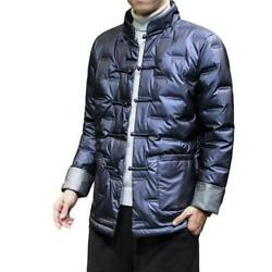 Menand039s Glossy Down Jacket Chinese Style Tang Suit Tops Button 3xl Winter Blazer L