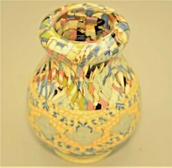 Vintage Vallauris French Signed Jean Gerbino Agate Miniature Mosaic Pottery Vase
