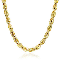 10k Solid Yellow Gold 7mm Diamond Cut Rope Chain 18-28