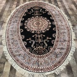 Yilong 5'x8' Oval Silk Carpet Antique Hand Knotted Bedroom Oriental Rug W332a