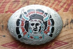 Vtg Hand Made Abalone Turquoise Coral Inlay Indian Chief Western Belt Buckle