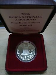 Moldova Moldavia 100 Lei 2006 15 Years Bnm National Bank Silver Prf