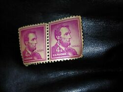 1951-1960 Two U.s. Abraham Lincoln Liberty Red Violet 4c Stamp Uncirculated Rare