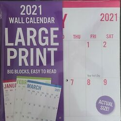 **2021 Month Wall Purple Frame Calendar Large Print Special Price**