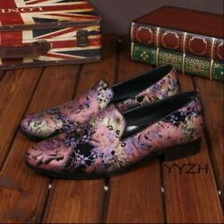 Menand039s Slip On Low Heel Floral Printed Rock Singer Loafer Round Toe Casual Shoes