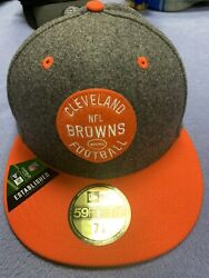 Cleveland Browns Hat Vtg Retro New Era 59fifty 5950 Fitted Size 7 1/8 Wool Nfl