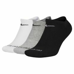 New Mens Nike Dri-fit Everyday Plus Cushioned 3 Pack No-show Footie Socks