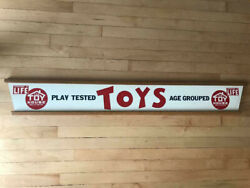 Vintage Wooden Painted Toys Sign Double Sided Retail Toy Department 5and10 Store