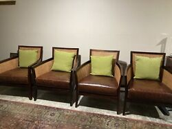 Crate And Barrel Rattan Chairs, Set Of 4